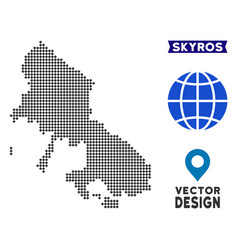 Dotted skyros greek island map vector