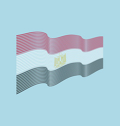 egypt flag on blue background wave stripes vector image