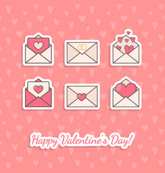 Envelopes with hearts inside vector