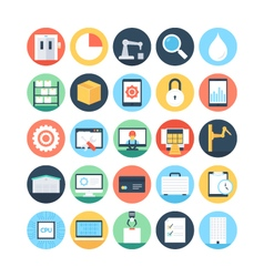 Factory manufacturing production icons 3 vector