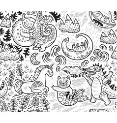Fantastic creatures animal pattern in outline vector