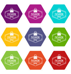 fashion style bag icons set 9 vector image