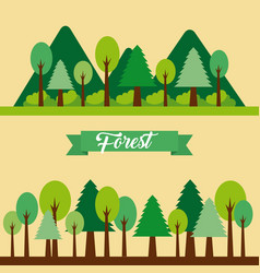 Forest landscape natural mountain tree vector
