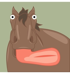funny cartoon horse showing tongue vector image