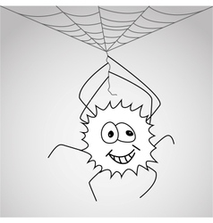 Funny little spider hangs on the web vector image
