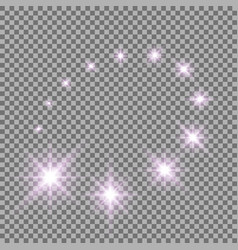 glittering flying stars purple color vector image