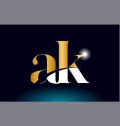 Gold golden alphabet letter ak a k logo vector