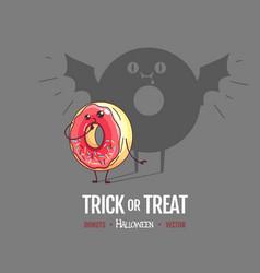 Halloween kawaii funny donut with spooky shadow vector