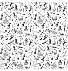 Hand drawn seamless pattern of cosmetics vector