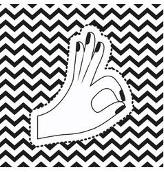 Hand symbol all okay sticker on pop art zig zag vector
