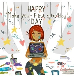 Happy Make your first site or blog day vector