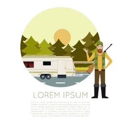 Hunting in the forest banner vector