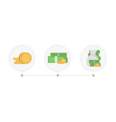 increasing piles of coins and money concept of vector image