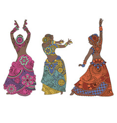 indian dancers on white background vector image