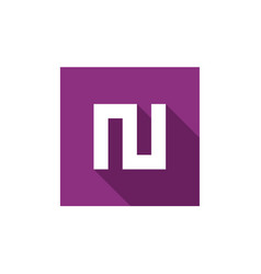 Initial alphabet n logo icon combined with square vector