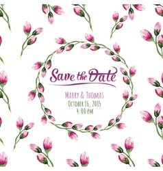 Invitation card with watercolor elements vector