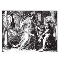 judith places the head of holofernes in a bag vector image
