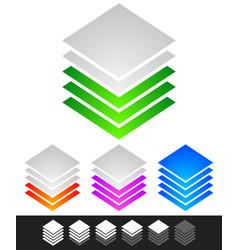 Layered stacks progress level indicator symbol vector