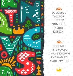 Letter print design vector image