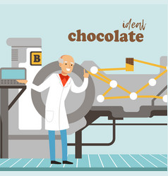Male confectioner controlling chocolate factory vector
