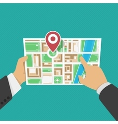 Map in hands vector