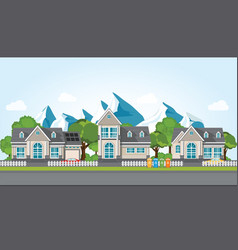 Modern family house on mountain againt the blue vector