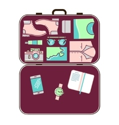 Modern tourist stuff in suitcase vector image