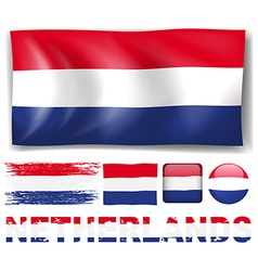 Netherland flag in different designs vector image