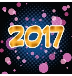 New year 2017 pop art background vector