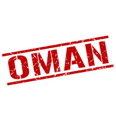 Oman red square stamp vector