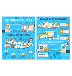 online internet security and data protection vector image