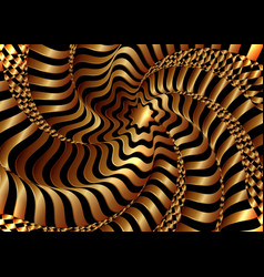 optical art abstract golden waves cover design vector image
