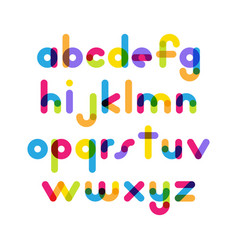Overlapping colorful rounded flat font letters vector