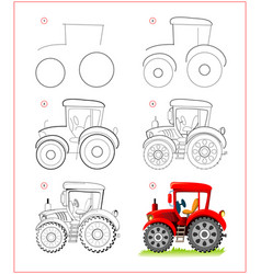 Page shows how to learn to draw step step toy vector