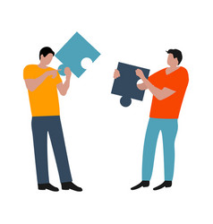 people connected puzzle pieces performing work vector image