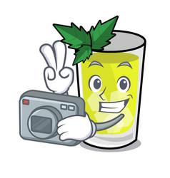 Photographer mint julep mascot cartoon vector
