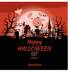 poster happy halloween holiday pumpkin cemetery vector image