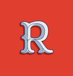 R letter logo in classic sport team style vector