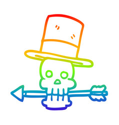 Rainbow gradient line drawing cartoon skull and vector