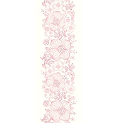 Red line art flowers vertical seamless pattern vector