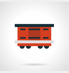 Red railroad container flat icon vector