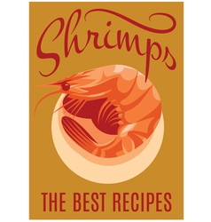 Retro poster with shrimp for restaurants vector