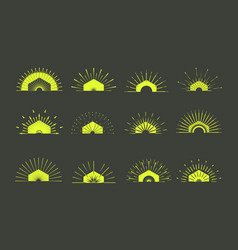 retro sun burst shapesvintage logolabelsbadges vector image