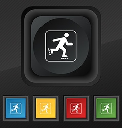 roller skating icon symbol Set of five colorful vector image