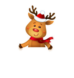 Santa s reindeer rudolph and white banner vector