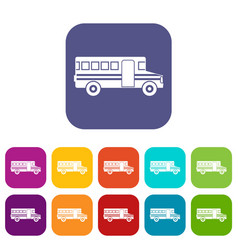 School bus icons set vector
