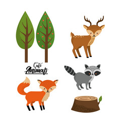 set cute wild animal with natural trees vector image