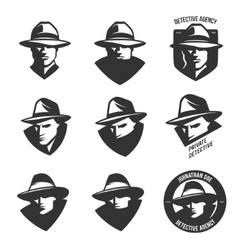 Set detective agency emblems with abstract men vector