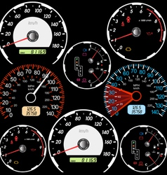 Set of car speedometers vector