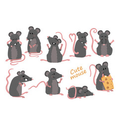Set of cute mice in various poses in cartoon style vector